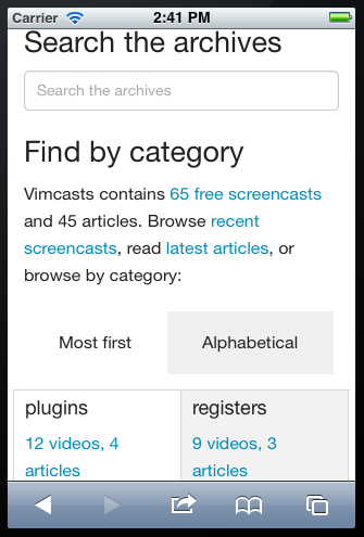 a screenshot of the Vimcasts categories page on a mobile