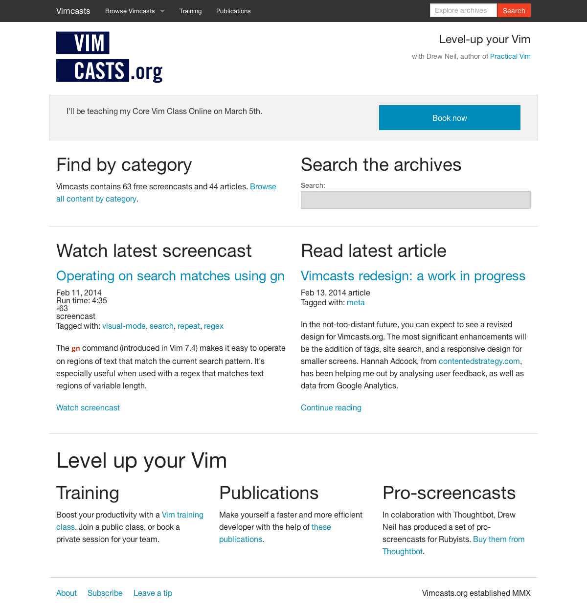 a screenshot of the redesigned Vimcasts homepage on a desktop