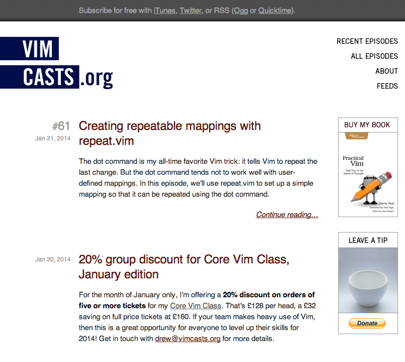a screenshot of current Vimcasts homepage